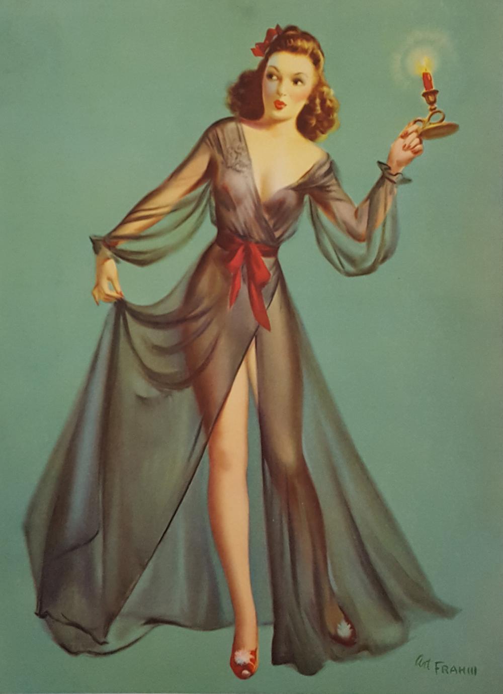 dbc9d1bad92 Vintage 1940 Art Frahm Cheesecake Brunette Pin-up Girl In Lingerie Boudoir  Print